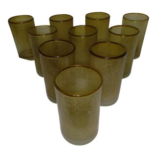1960s Hand-blown Mexican Glasses - Set of 10 For Sale