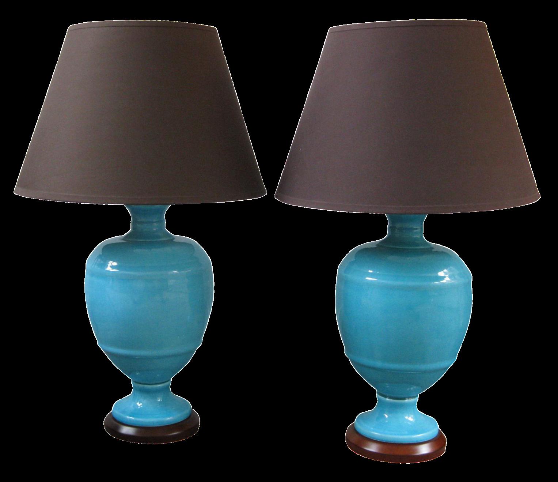 Oscar De La Renta Shades On Mid Century Modern Ceramic Table Lamps   A Pair