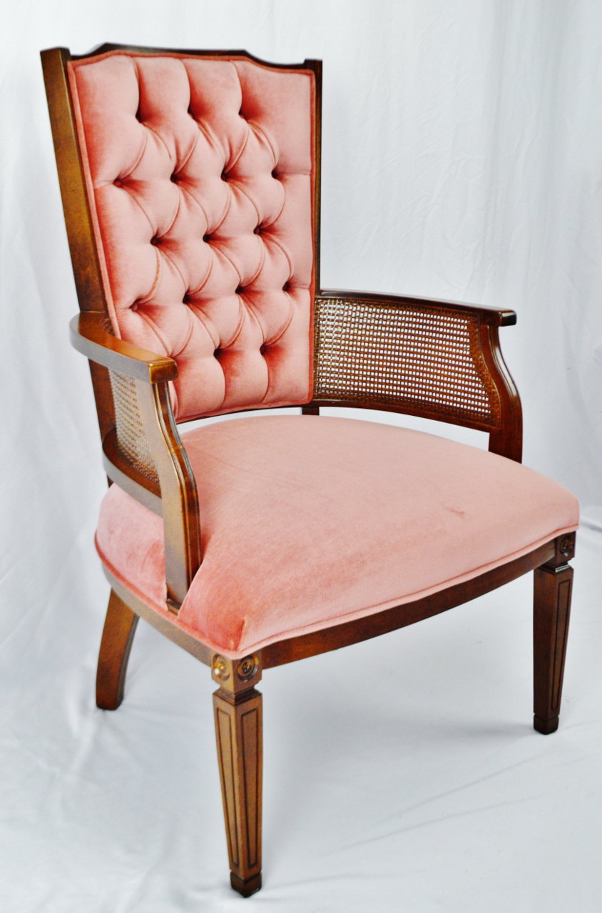 Gentil Mid Century Tufted Pink Velvet And Wicker Cane Accent Chair   Image 2 Of 12