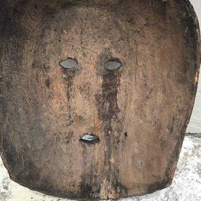 Primitive Huge Carved Mahogany Celtic Mask For Sale - Image 3 of 12