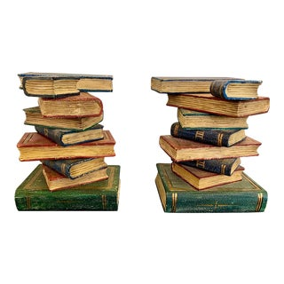 Italian Hand-Painted Book Stack Side Tables - a Pair For Sale