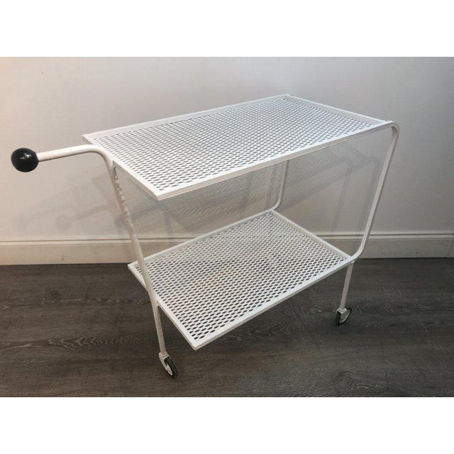 Modern Modern Wrought Iron Bar Cart in the Attributed to Salterini For Sale - Image 3 of 10