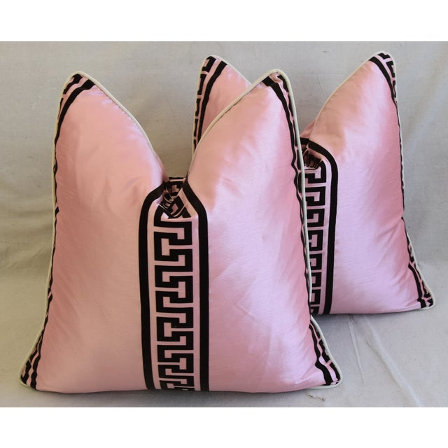 "Pink Dupioni Satin Silk Greek Key Feather/Down Pillows 23"" Square - Pair For Sale - Image 13 of 13"