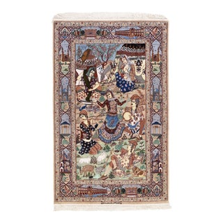 """Persian Isfahan """"Hedayat Nia"""" Signed Area Rug - 4′3″ × 6′8″ For Sale"""