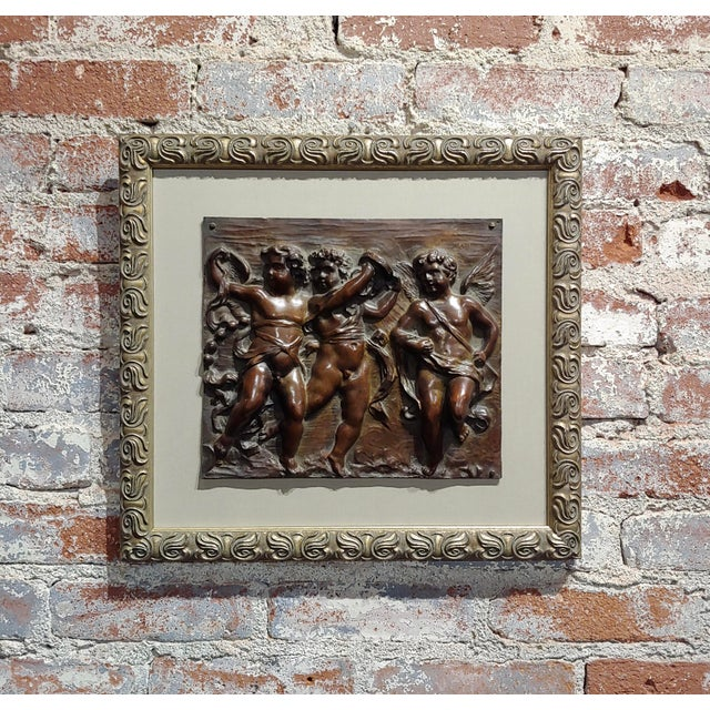 19th Century French Bronze Relief Plaque - 3 Dancing Cherubs For Sale - Image 9 of 9