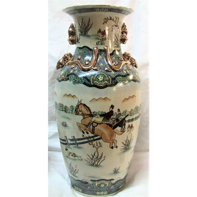 Early 20c Chinese Hunt Scene Floor Vase and Lidded Urns For Sale - Image 10 of 13