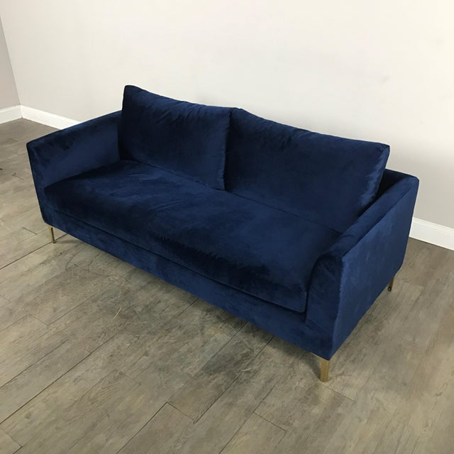 Modern Royal Velvet Navy Blue Sofa - Image 3 of 11
