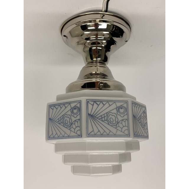 1930s Art Deco Semi Flush With Blue Stenciled Design For Sale In Los Angeles - Image 6 of 6