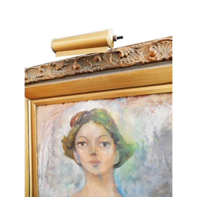 Brutalist Woman in Gold Painting For Sale - Image 3 of 4
