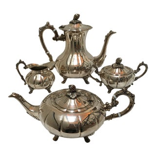 1940s Silver Plate Coffee and Tea Service by F. B. Rogers - 4 Piece Set For Sale
