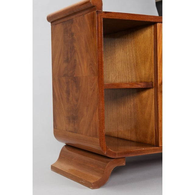 French Art Deco Burl Wood Side Table Cabinet - Image 6 of 8