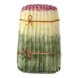 Large - Vintage Majolica Style Portuguese Made Asparagus Bundle Platter For Sale