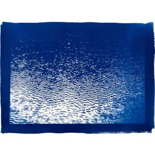 Large Tahoe Panorama With Blue Border ( Water Reflection), 100x70cm , Cyanotype on Watercolor Paper, Limited Edition For Sale