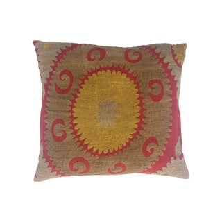 Vintage Suzani Gold Medallion Pillow