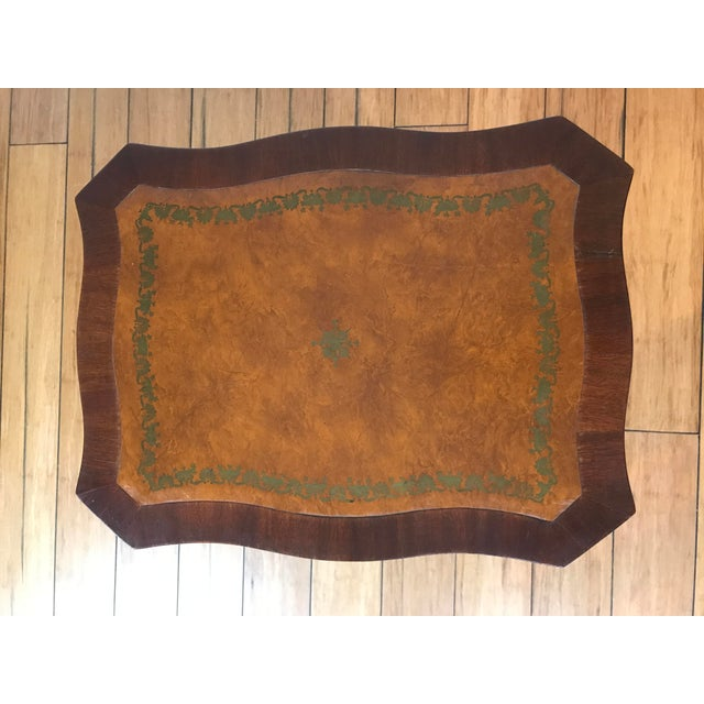 Antique Petite Tilt Top Table With Leather For Sale - Image 4 of 8