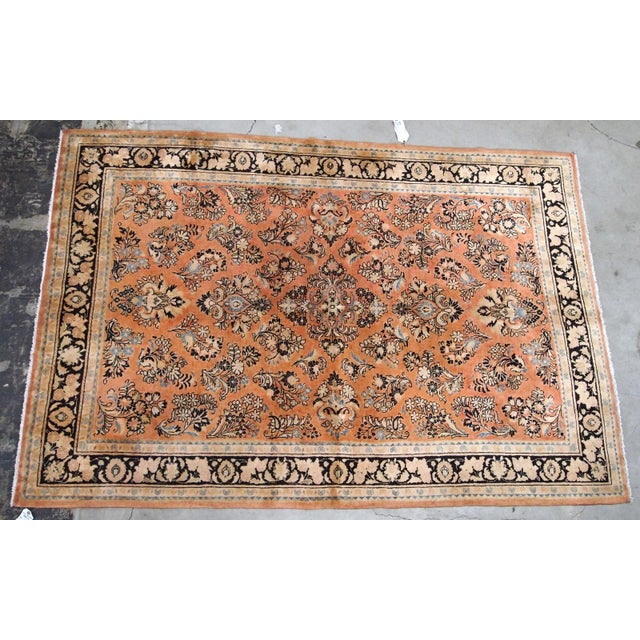 1920s 1920s, Handmade Antique Persian Sarouk Rug 5.2' X 8.3' - 1b704 For Sale - Image 5 of 10