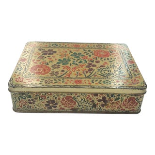 English Decorative Floral Tin Box For Sale