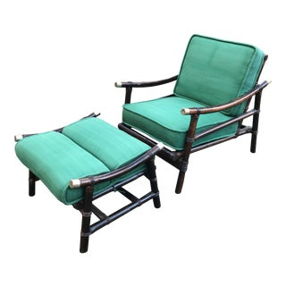 Ficks Reed Lounge Chair With Ottoman For Sale
