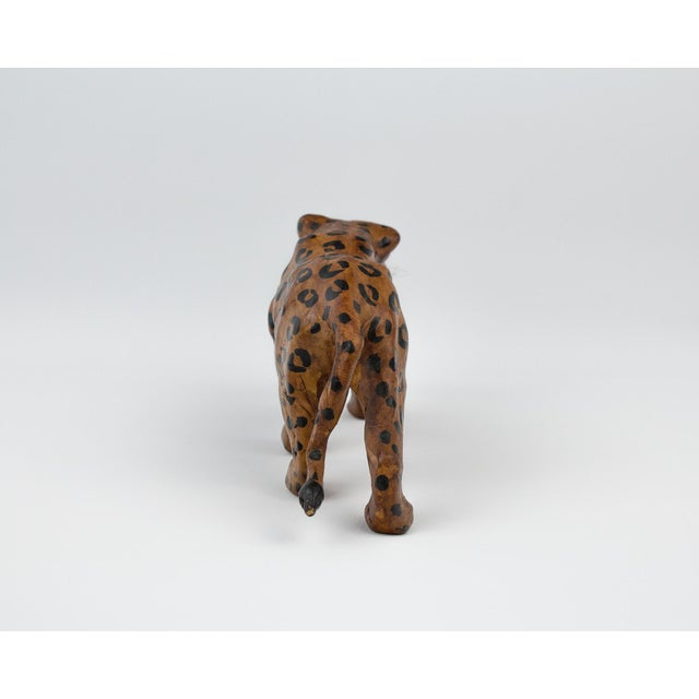 Animal Skin Vintage Hand Painted Leather Leopard Figure For Sale - Image 7 of 13