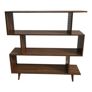 New Mid Century Style Walnut Bookshelf For Sale