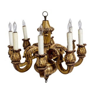 French Gilt Wood 8 Arm Chandelier