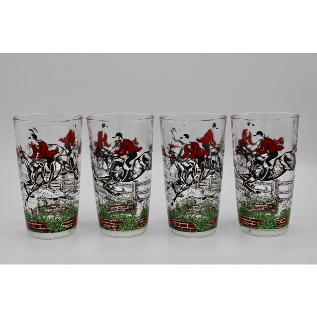1950s 1950s English Fox Hunt High Ball Drinking Glasses - Set of Eight For Sale - Image 5 of 13