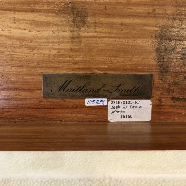1970s Maitland Smith Shagreen Desk W Brass Sabots For Sale - Image 11 of 13