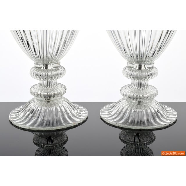 Vintage Mid Century Barovier & Toso Style Monumental Murano Lamps- A Pair For Sale - Image 4 of 9