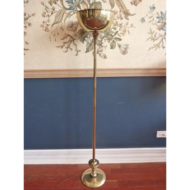 Brass Torchiere Floor Lamp - Image 2 of 6