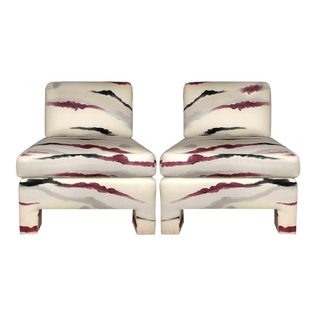 Modern Sherrill Furniture Slipper Chairs- a Pair For Sale In Chicago - Image 6 of 9