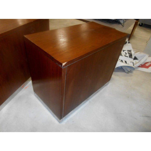 Mid-Century Modern 1960s Mid-Century Modern Walnut & Chrome 2 Drawer Filing Chest For Sale - Image 3 of 6
