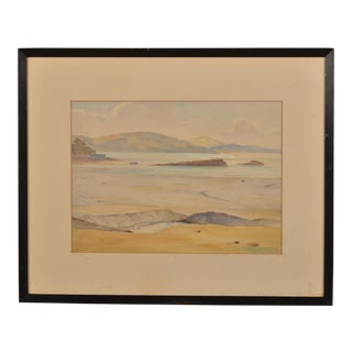 1900s Vintage English Landscape Watercolor Painting of the South Coast by A. Warren Dow For Sale