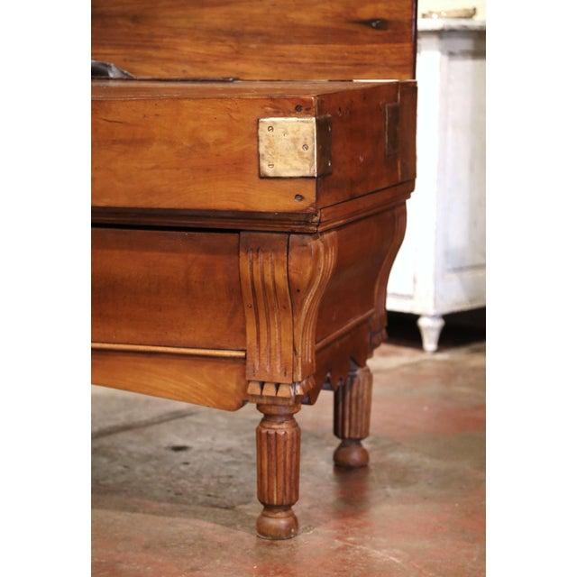 19th Century French Carved Butcher Block With Back and Bronze Cow Head For Sale - Image 9 of 13