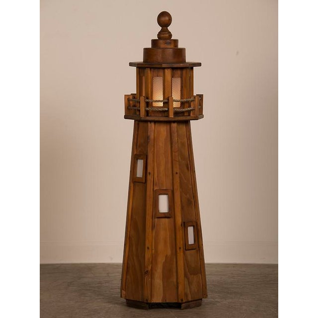 Vintage French Handmade Wood Lighthouse Floor Lamp circa 1950 For Sale - Image 4 of 8