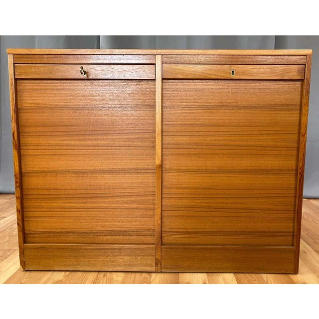 Mid-Century Modern Danish Tambour Front Dual Compartment Teak File Cabinet With Drawers, 1970s For Sale - Image 3 of 13