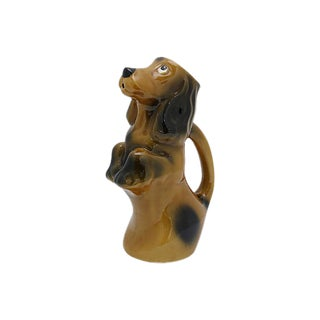 Mid-Century French Majolica Begging Dog Water Jug For Sale