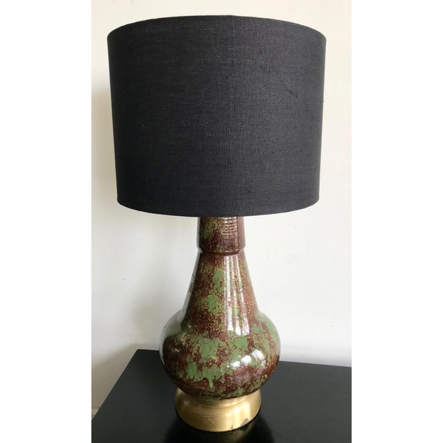 Vintage avocado green and brown glazed ceramic pottery table lamp with brass-gold base. Custom made black linen shade...