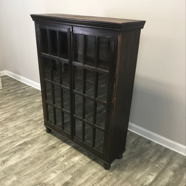 Contemporary Crate & Barrel Wood Glass Door Wall Unit For Sale - Image 3 of 9