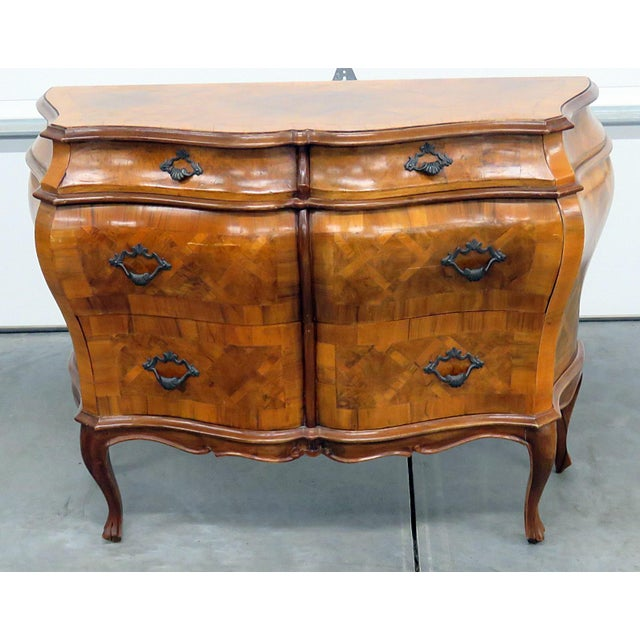 Italian Inlaid Bombe Commode For Sale - Image 9 of 9