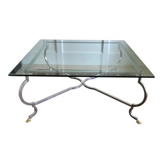 Large Mid Century Silver and Glass Coffee Table by LaBarge For Sale