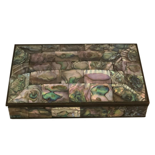 Mid 20th Century Vintage Mid-Century Domed Abalone Box For Sale - Image 5 of 7