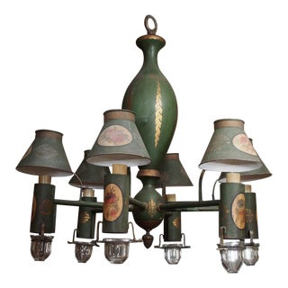Mid 20th Century Painted French Tole Chandelier For Sale