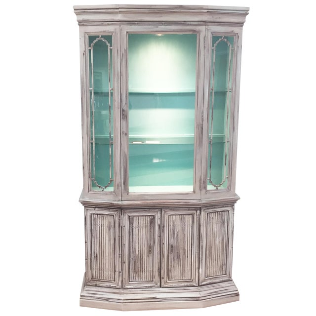Gray Mid-Century China Cabinet Hutch - Image 1 of 11