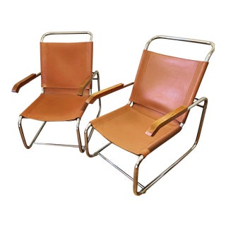 Marcel Breuer B35 Style Leather Chairs - a Pair For Sale