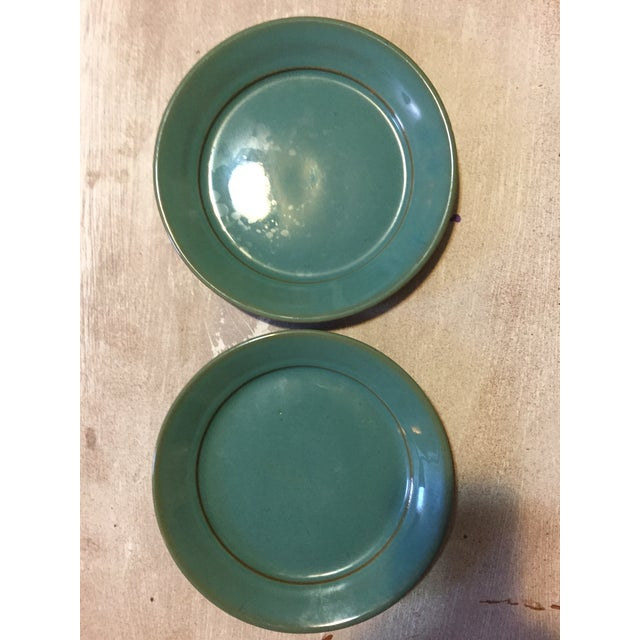 Blue Glazed Pottery Plates - A Pair - Image 2 of 4