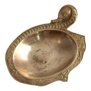 1970s Boho Chic Brass Snake Catchall Dish