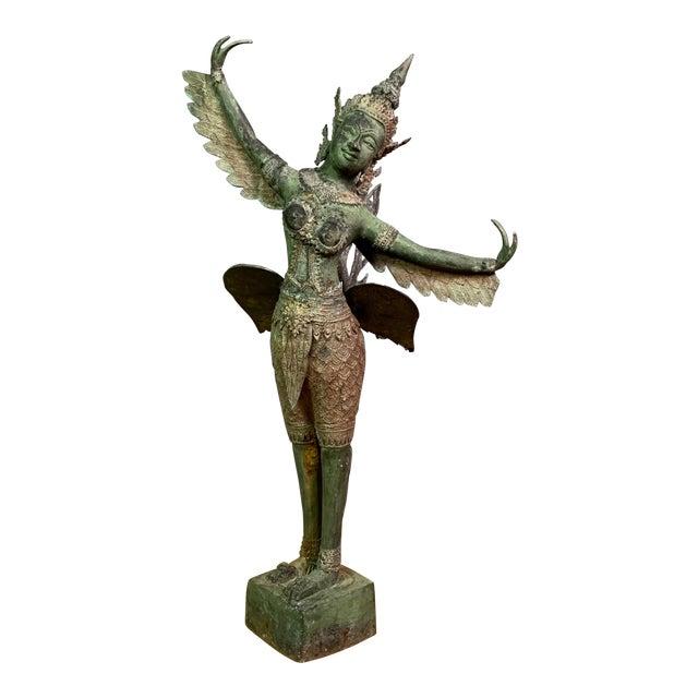 "Early 1900s Mythologic Kinnaris 30"" Bronze Statue, Thailand For Sale"
