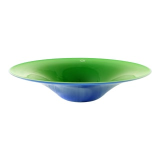 Blue and Green Blown Murano Glass Bowl by v. Nason & C. Of Italy For Sale