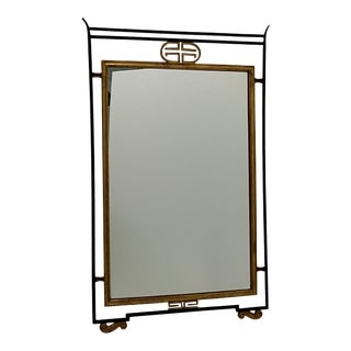 Italian Iron and Gilded Asian Style Mirror For Sale