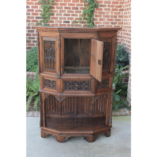 Late 19th Century Antique French Gothic Vestry Sacristy Cabinet Oak 19th Century For Sale - Image 5 of 13